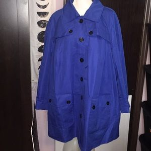 Dennis Basso royal blue black trench coat. Size 3X